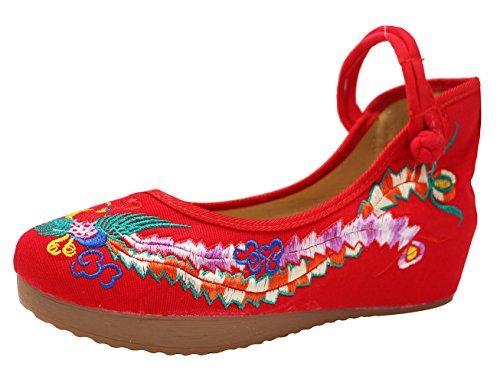 Icegrey vrouwen handgemaakte geborduurde Pheonix wig Mary Jane schoenen