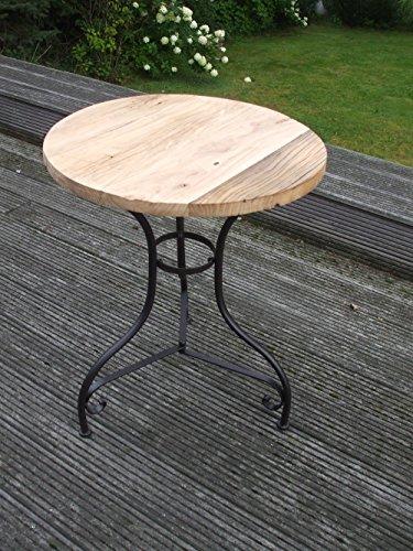Deko-Impression Eisentisch, Beistelltisch, Ablagetisch, Holzplatte,massiv, rund, 75 cm