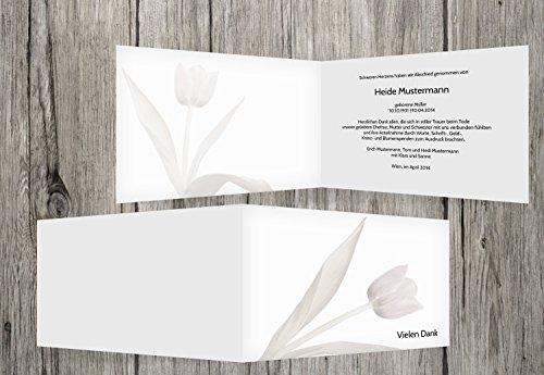 trauerkarten-druck   Danksagung Trauerfall   Danksagung Trauer Tulpe   5 Karten   mit Individualisierung & Umschlägen   in Weiß