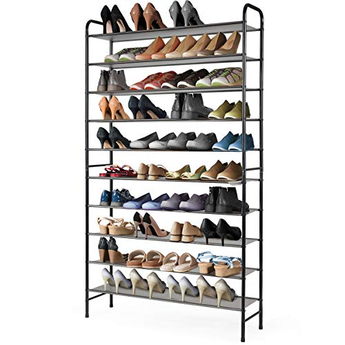 Tangkula 10-Tier Free Standing Shoes Rack, Space Saving Shoes Organizer Shoes Storage Stand, 70 Pairs Shoe Tower Shoes Storage Organizer, Entryway Hallway Shoes Tower (Black)