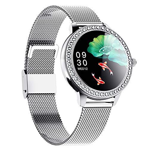 Smart Watch Für Android Ios wasserdichte Frauen Sport Digitaluhr Fitness Tracker Herzfrequenz Blut Sauerstoff Schlafmonitor Touchscreen,Silber