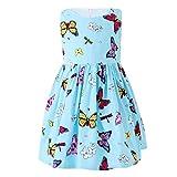 SMILING PINKER Little Girl Dresses Summer Butterfly Kids Toddler Cotton Sundress (Blue, 4 Years)