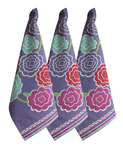 MORNING BLOSSOM Kitchen Towels and Dishcloths - Set of 3 Ultra Absorbent and Fast Drying Cotton Dish Cloths - Orchid Purple - 18x28 Inches