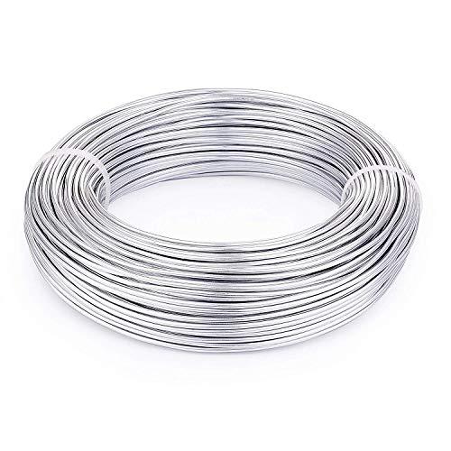 PandaHall Alambre de Aluminio para Hacer Pulseras Collares aretes bisuteria alalmbre de Metal para Manualidades artesania DIY Plata 2mm diámetro sobre 50M/Rollo