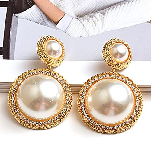 SALAN Nuevos Pendientes Redondos De Perlas, Pendientes Largos De Oro, Accesorios De Joyería De Tendencia De Moda para Mujeres