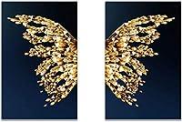 キャンバスウォールアートバタフライウィングス抽象スカンジナビアウォールアートポスタープリントミニマリスト北欧装飾写真リビングルーム2個20x30cmフレームなし
