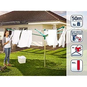 Leifheit Wäscheschirm Linomatic 500 Deluxe Cover mit Leineneinzug für saubere Wäsche, Wäschespinne für die ganze Familie, Wäscheständer inkl. Bodenhülse und Schutzhülle, 50m Leine für 5 Wäscheladungen