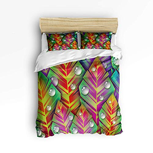 Butlerame 3 Piece Bedding Set Closure Abstract Colorful Leaves Water Drop Comforter Cover Set Duvet Cover