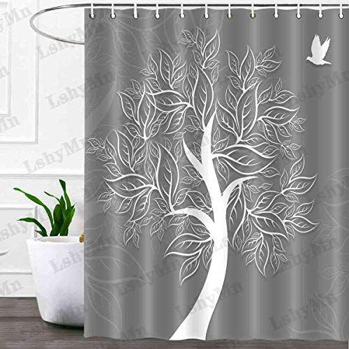 Baum des Lebens Duschvorhang Baum Silhouette & Frieden Taube wasserdichter Stoff Badezimmer Badvorhänge maschinenwaschbar mit Haken 183 x 183 cm, grau YLZDMN4