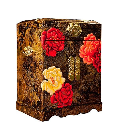 Schmuck Box aus Holz chinesischen Box Pingyao Push leichte Lacquerware Schmuck Aufbewahrungsbox chinesische Make-up Geschenk Storage Box Lack Kabinett