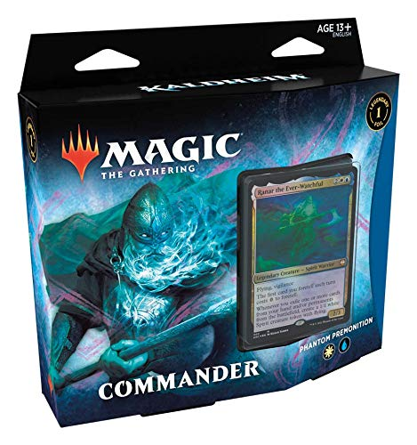Magic The Gathering: Kaldheim| Commander Deck | Phantom Premonition | 99 cards | 1 Foil Commander | 10 Tokens Dupla Face | 1 Contador de Energia - Português