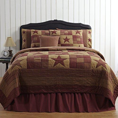 VHC Brands Ninepatch Star 5 Piece Queen Quilt Set Country Patchwork Design, Burgundy