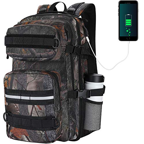 Tactical Backpack for Men, Camo Motorcycle Backpack Travel School Durable Backpack 3 Day Pack for Outdoor Hiking Climbing with USB Charge Port