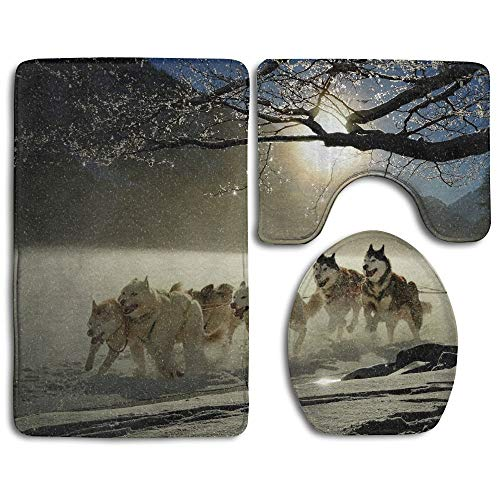 GGdjst 3 Piezas Juego de Alfombra de Baño, Dogs Huskies Animal Home Set of 3 Soft Bath Rug Non-Slip Bathroom Shower Mat