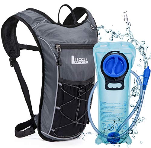 Luffy Hydration Backpack with 2L BPA Free Water Bladder - Lightweight Pack for Running Hiking Riding Cycling Climbing (Grey)