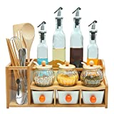 Bambú, cerámica, vidrio Botella de aceite de 2 capas X4, Estante de bambú X1,...