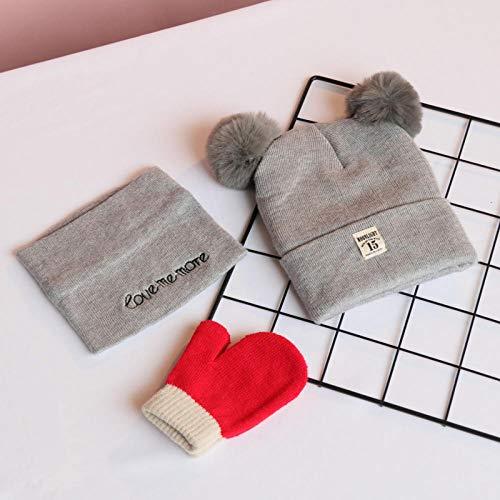3-delig pak, kinderen, wol, hoed, sjaal, baby, vrouw, katoen, warm, trui, gebreide hoed 3-24 maanden_B