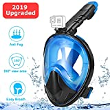 Zerhunt Full Face Snorkel Mask 2019 Upgraded, Foldable Snorkeling Mask for Adults, Large Viewing Area Free Breathing Snorkeling Mask, Dry Top Set Anti-Fog Anti-Leak