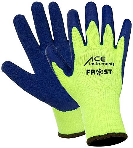 ACE 3 Paar Frost Winter-Arbeitshandschuhe - Kälte-Schutzhandschuhe für die Arbeit - EN 388/511 - Neongelb/Blau - 08/M