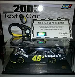 Only 4134 Made 2003 Jimmie Johnson #48 48a Team Lowes Racing Lowes Test Testing Grey Primer With White Tools Special Paint Scheme 1/24 Scale Diecast Hood Opens Trunk Opens HOTO & Bonus Stopwatch Limited Edition Revell Collections With Certificate of Authenticity