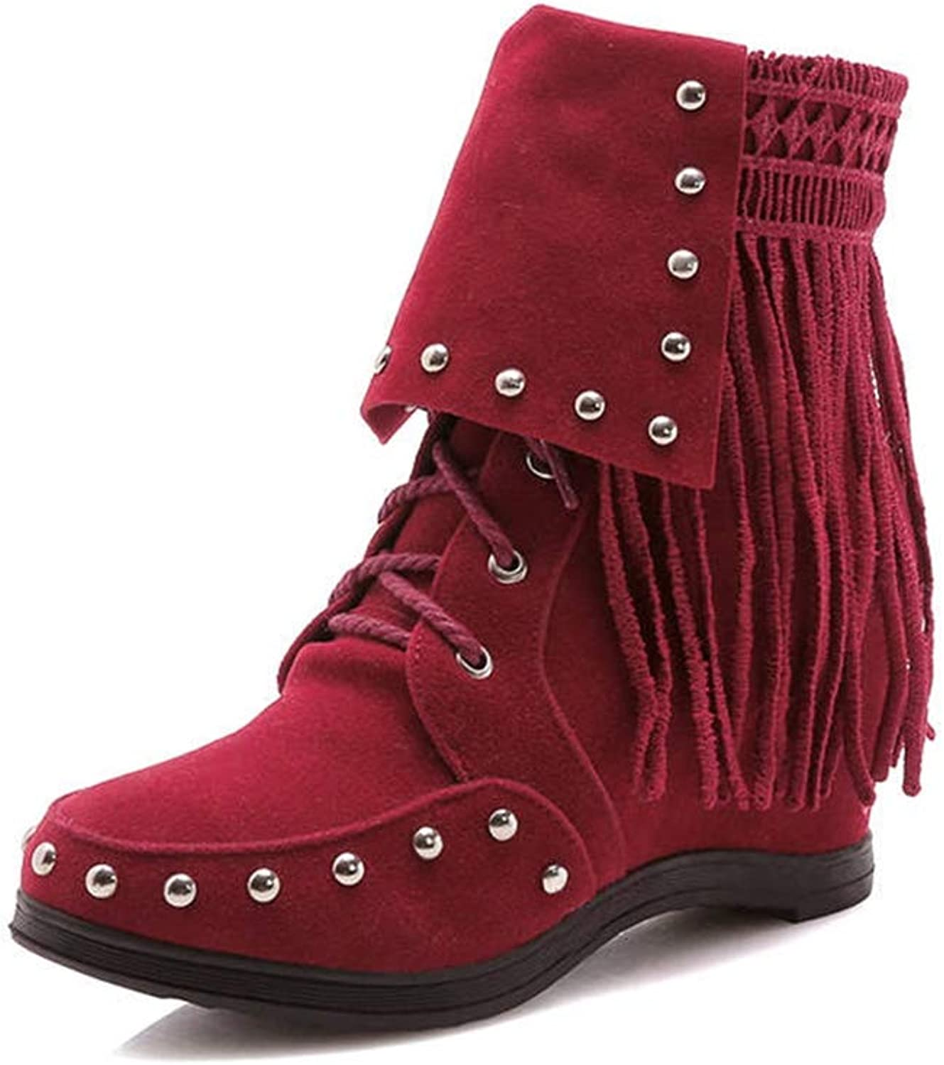 GIY Women's Lace Up Ankle Boots Winter Comfortable Rivet Tassel Suede Footwear Flat Heel Short Boots