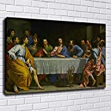 Lienzo de La Última Cena, decoración del hogar, pintura al óleo impresa en lienzo, arte de pared, obra de arte famosa de Leonardo Da Vinci, cuadro de pared 30x75cm (12x30in) con marco