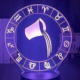 Acuario luz de noche LED multicolor acrílico 3D lámpara de mesa doce constelaciones regalo de decoración USB