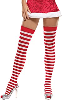 Striped Candy Cane Christmas Thigh High Stockings