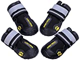 QUMY QUMY Dog Boots Waterproof Shoes for Large Dogs with Reflective Velcro Rugged Anti-Slip Sole...