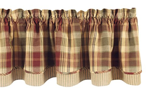 """Park Designs """"Saffron"""" Country Lined Layer Valance,72"""" Wide x 16"""" Long"""