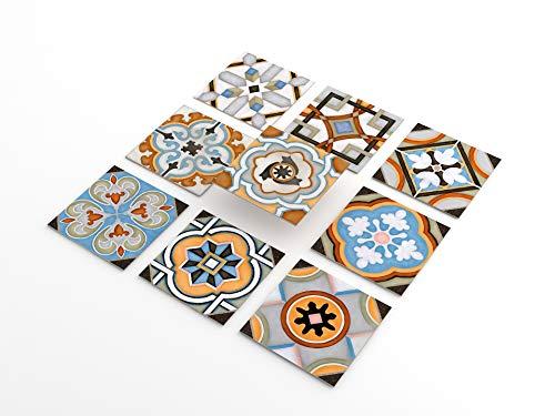 Tink Adhesivo de PVC para azulejos, cocina, baño, superficies de madera, escaleras (20 x 20 cm, 6 unidades, diseño Casablanca)