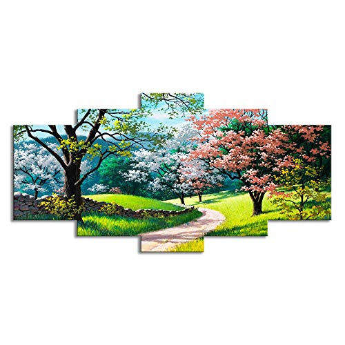BIOAOUA Canvas Decoration 5 Piecesmodern Art Wall Print Canvas Prints 5 Piece Combination Paintings Home Decoration Spring Trees Landscape Living Room Oil Painting-A-No Frame_150X80CM