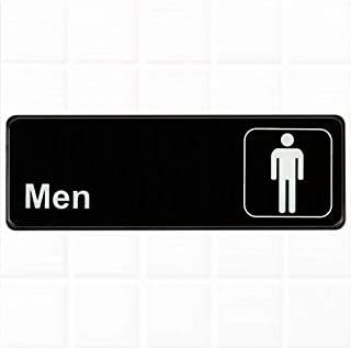 Men Restroom Sign - Black and White, 9 x 3-Inches Mens Bathroom Sign, Restroom Signs for Door/Wall by Tezzorio