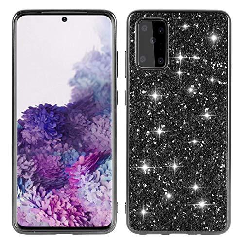 Nadoli Glitter Case Coque pour Huawei P40 Noir Souple Doux Silicone Strass Galvanoplastie Cadre Très Mince Coque Housse Couverture Étui de Protection Rigide Cover,Noir