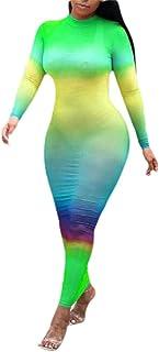 ouxiuli Womens Sexy Tie-dye Print Wrap Dress Nightclub Maxi Dress Bodycon One Step Dress