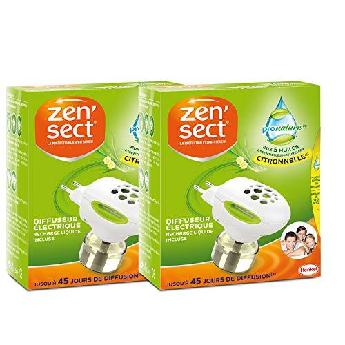 Zen'Sect Pronature Diffuseur Electrique Liquide – 45 Jours de Diffusion – Lot de 2