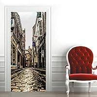3Dドアステッカー インテリア 77x200cm 街 壁壁画リビングルームの寝室のドア壁紙ウォールステッカーPVC自己接着防水装飾 ドアポスター 壁紙 DIY 飾り はがせる シール