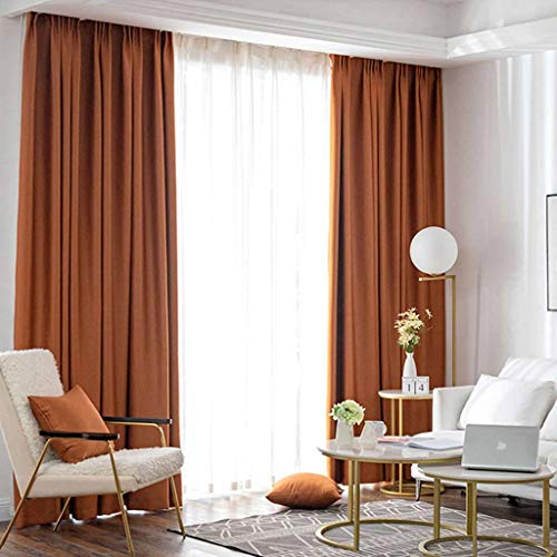 ILMF Blackout Curtain, Thermal Insulated Room Darkening Soft Window Drapes Pencil Pleat Energy Efficient Drapery Great for Bedroom Living Room Balcony-59inchx106inch-Orange 1 Panel