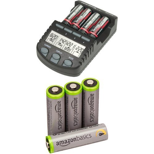BC 700 Akku - Ladegerät mit LCD - Display, Microprozessor, Schnellladegerät & Amazon Basics Vorgeladene Ni-MH AA-Akkus - Akkubatterien, 500Zyklen, 4Stck
