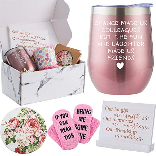 Coworker Leaving Gifts for Women - Best Coworker BFF Gift Basket - Perfect For Work Bestie Friend Gift Set - Retirement Moving Away Goodbye Going Away New Job Gift Idea for Colleagues, Boss