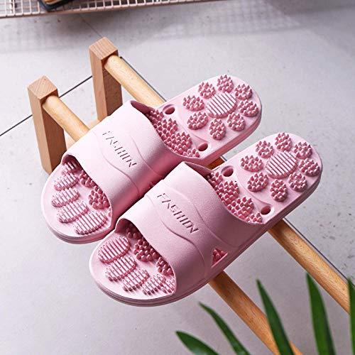 B/H Sandalias de Zapatillas de Masaje,Zapatillas de baño de plástico Antideslizantes, Sandalias de Masaje de tacón Plano y Fondo Suave-Vino Tinto_38-39