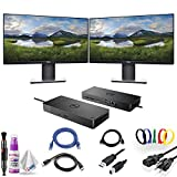 Dual Dell P2219H 21.5' 16:9 Ultrathin Bezel IPS Monitor with Dell WD19 180W Docking Station (130W Power Delivery) USB-C, HDMI, Dual DisplayPort, Dual Monitor Bundle