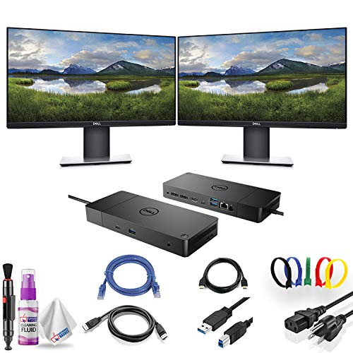 "Dual Dell P2319H 23"" 16:9 Ultrathin Bezel IPS Monitor with Dell WD19 180W Docking Station (130W Power Delivery) USB-C, HDMI, Dual DisplayPort, Dual Monitor Bundle"