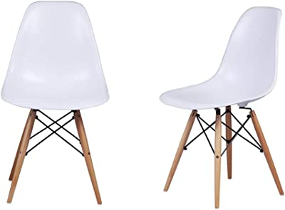 GIA DSW_24_WHITE Eames Plastic Armless Chair with Wooden Legs, 2-Pack, Beech