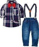 Zoerea Baby Jungen Bekleidungssets Hosen & Shirt Gentleman Hosenträger Krawatte Jeans Kleinkind Outfits Dunkelblau,Größe 120