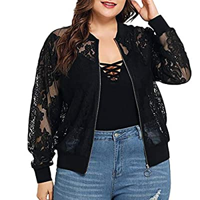LISTHA Lace Long Sleeve Zip Up Jackets Women Short Bomber Coat Casual Outwear from