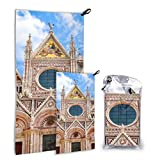 N\A Vintage Romantic Siena Cathedral 2 Pack Microfiber Lightweight Beach Towel Toallas de Playa para niñas Set de Secado rápido Lo Mejor para Viajar en el Gimnasio Mochilero Yoga Fitnes