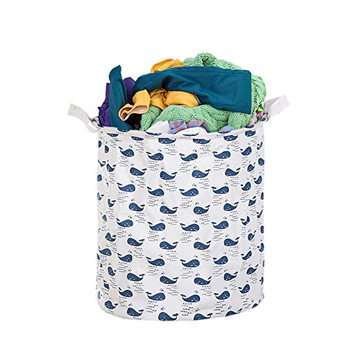3Q BABY Laundry Hamper Cotton Linen Canvas Basket Nursery Bin Folding Laundry Hamper for Your Home Collapsible Waterproof Anti-Mold Coated (Large Sized-19.7H''x15.7D'') (whale)