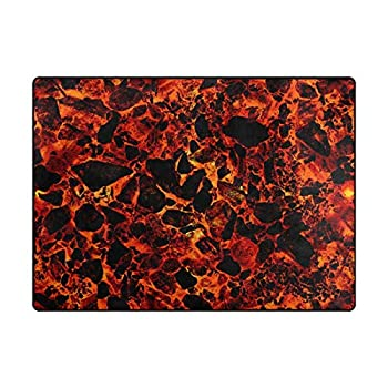 Video Games Area Rug Floor Red Mat Lava Volcano Yellow Children Play to Prevent Falls Large Area Rug Machine Washable Carpet Decor Living Room Dining Room Kids Room