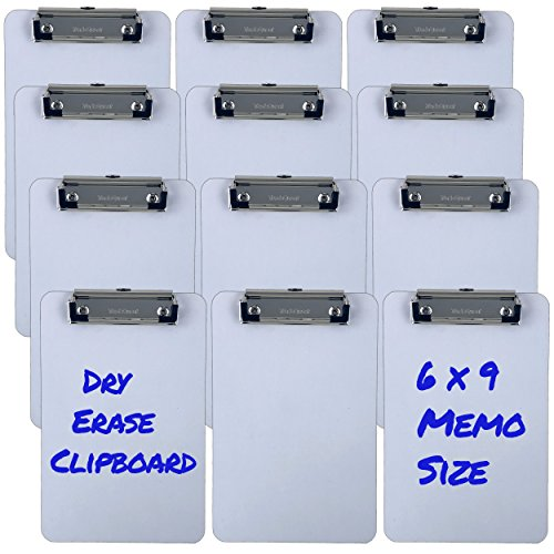 Trade Quest Small Memo Size 6'' x 9'' Clipboards Low Profile Clip Dry Erase Surface (Pack of 12) (Small)